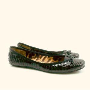 Sam Edelman Black Leather Snake Skin Design Flats
